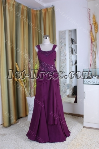 A-Line Ankle-Length Chiffon Elastic Silk-like Satin Tulle Mother of The Bride Dress 5383