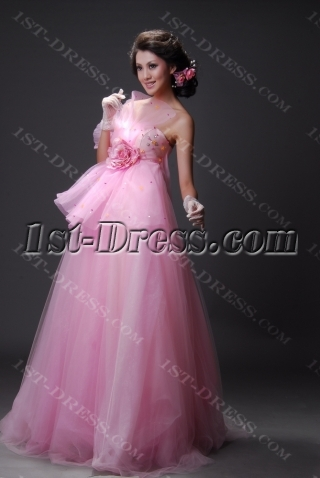 A-Line Ball Gown Long / Floor-Length Satin Tulle Prom Dress 2210-2
