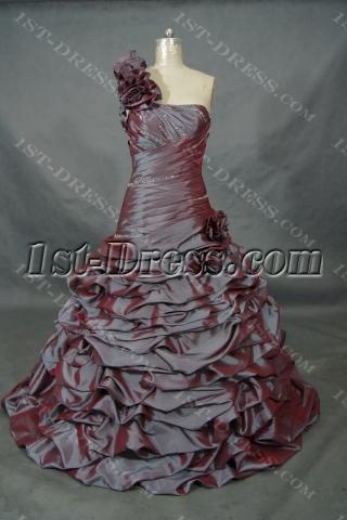 A-Line Ball Gown One Shoulder Natural Waist Non-Strapless Taffeta Wedding Dress  01523