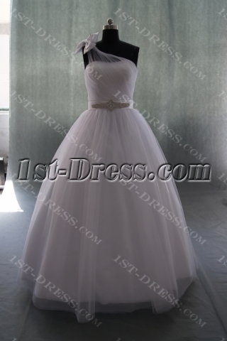 A-Line Ball Gown One Shoulder Natural Waist Satin Wedding Dress 04927