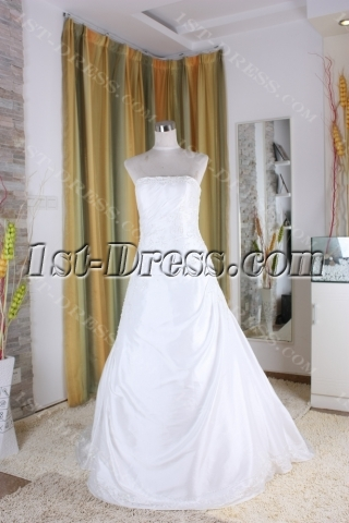 A-Line Ball Gown Princess Bateau Strapless Natural Waist Taffeta Bridal Gowns 5316