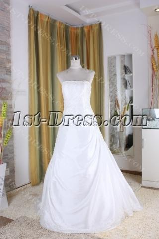 A-Line Ball Gown Princess Bateau Strapless Natural Waist Taffeta Bridal Gowns 5316