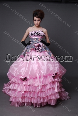 A-Line Ball Gown Strapless Long / Floor-Length Satin Organza Quinceanera Dress 2212