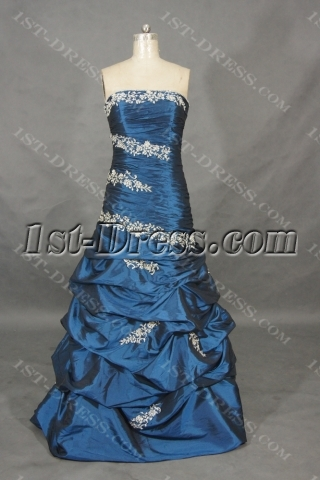 A-Line Ball Gown Strapless Long / Floor-Length Taffeta Prom Dress 01458