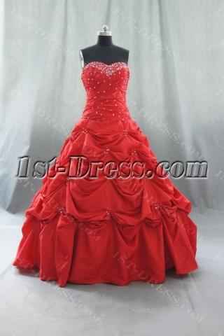 A-Line Ball Gown Strapless Long Floor-Length Taffeta Quinceanera Dress 05117