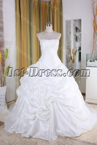 A-Line Ball Gown Strapless Scalloped-Edge Dropped Taffeta Organza Wedding Dress 5336