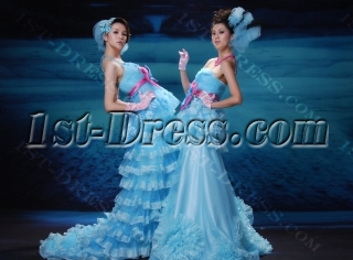 A-Line Ball Gown Strapless Sweetheart Long / Floor-Length Taffeta Organza Prom Dress H7081-1