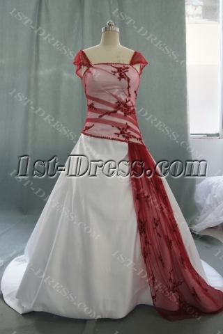 A-Line Ball Gown Sweetheart Dropped Cap Sleeve Satin Wedding Dress 05453