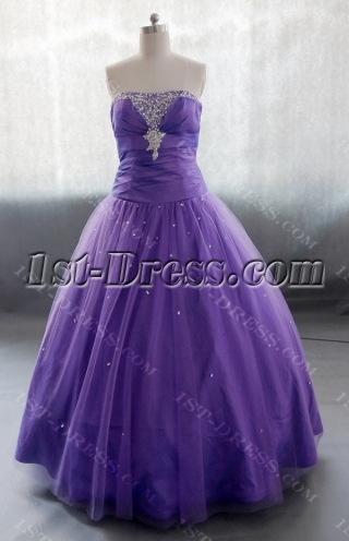 A-Line  Floor Length Taffeta Tulle Quinceanera Dress With Ruffle Beading 02623