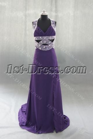 A-Line Halter Long Floor-Length Chiffon Evening Dress 04152