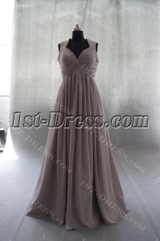 A-Line Halter V-Neck Chiffon Elastic Silk-like Satin Evening Dress 04923