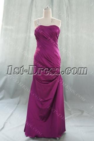 A-Line One Shoulder Long / Floor-Length Elastic Silk-like Satin Prom Dress 05538