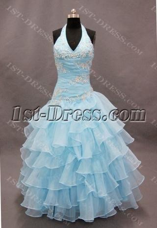 A-Line Princess Halter Floor-Length Organza Quinceanera Dress 02269