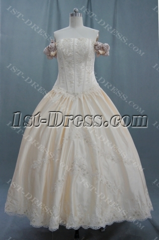 A-Line Princess Halter Sweetheart Off the Shoulder Non-Strapless Satin Plus Size Wedding Dress 04405