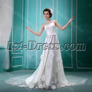 A-Line/Princess Square Neckline Floor-Length Satin Tulle Wedding Dress With Embroidery Ruffle Beadwork Sequins F-069
