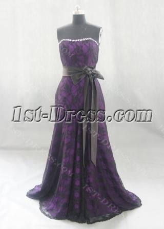 A-Line Princess Strapless Satin Lace Prom Dress 03536