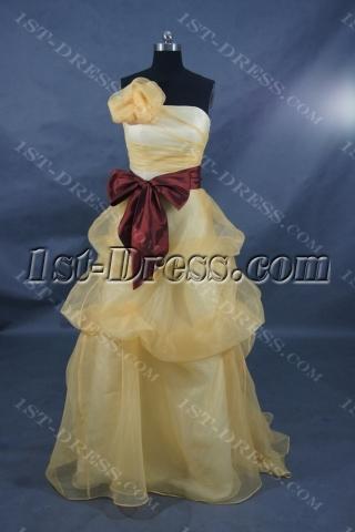 A-Line Princess Strapless Sweetheart Floor-Length Satin Organza Prom Dress 01391