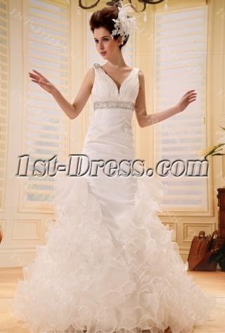 A-Line/Princess V-neck Court Train Chiffon Wedding Dress With Ruffle Beadwork F-077