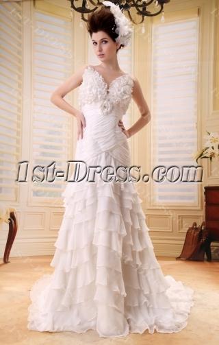 A-Line/Princess V-neck Court Train Chiffon Wedding Dress With Ruffle Beadwork F-091