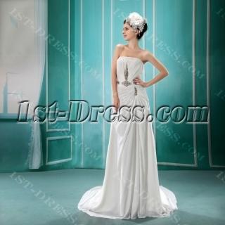 A-Line Strapless Court Train Chiffon Wedding Dress With Ruffle Beadwork