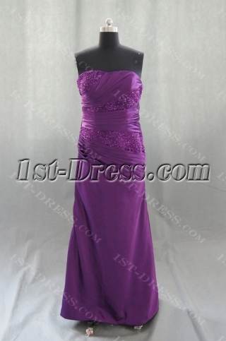 A-Line Strapless Floor-Length Silk-like Satin Prom Dress 04951