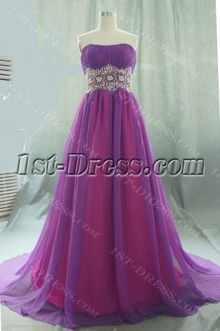 A-Line Strapless Long / Floor-Length Chiffon Elastic Silk-like Satin Evening Dress 05540