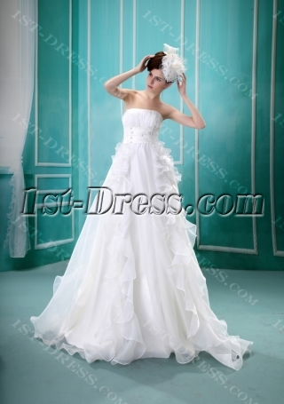 A-Line Strapless Sweep Train Satin Organza Wedding Dress With Ruffle