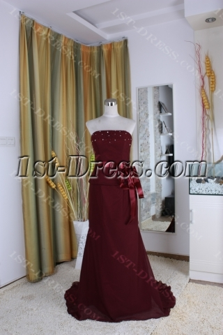 A-Line Strapless Sweetheart Ankle-Length Chiffon Elastic Silk-like Satin Mother of The Bride Dress 5381