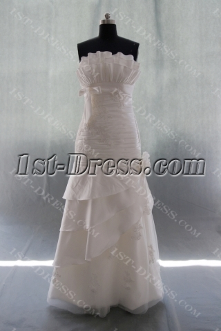 A-Line Strapless Sweetheart Natural Waist Taffeta Wedding Dress 04937