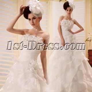 A-Line Sweetheart Asymmetrical Organza Wedding Dress With Flower(s)