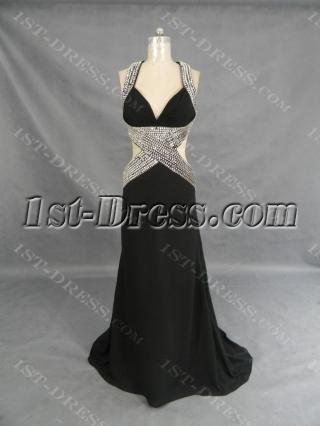 A-Line V-Neck Long / Floor-Length Chiffon Elastic Silk-like Satin Evening Dress 2253