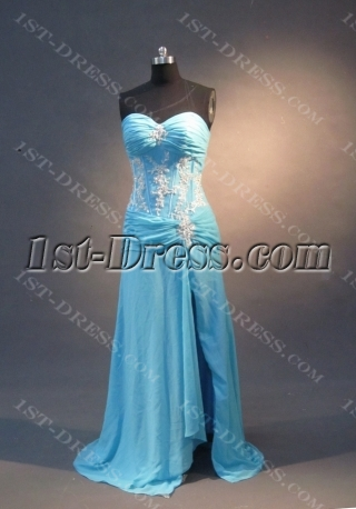Aqua  Floor-Length Chiffon Elastic Silk-like Satin Prom Dress 1662