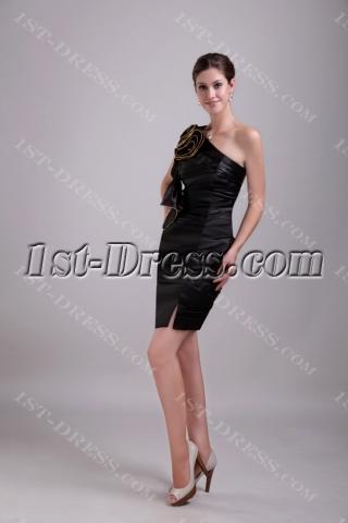 Asymmetrical Black Satin Celebrity Dress 1341