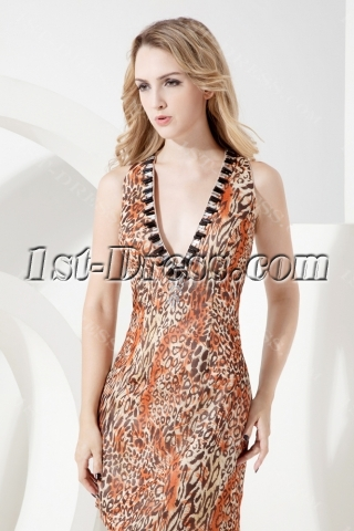 Backless Sexy Leopard Homecoming Dress