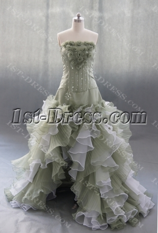 Ball-Gown Court Train Organza Wedding Dress With Ruffle Flower 04148