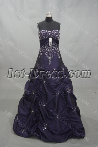Ball Gown Floor-Length Taffeta Quinceanera Dress With Embroidered Beading 02982