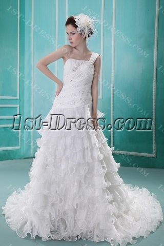 Ball-Gown One-Shoulder Sweep Train Satin Organza Wedding Dress With Sashes F-117
