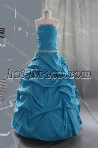 Ball Gown Princess Bateau Strapless Long / Floor-Length Taffeta Quinceanera Dress 05551