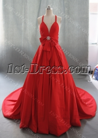 Ball Gown Princess Halter V-Neck Taffeta Wedding Dress 05019