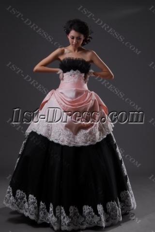 Ball Gown Princess Long / Floor-Length Taffeta Organza Quinceanera Dress 2224-1