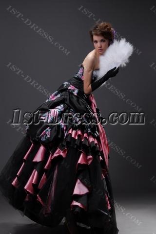 Ball Gown Princess Long / Floor-Length Taffeta Organza Quinceanera Dress H2147