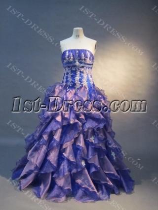 Ball Gown Princess Strapless Floor-Length Satin Organza Quinceanera Dress 1574