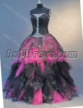 Ball Gown Princess Strapless Floor-Length Satin Organza Quinceanera Dress 1671
