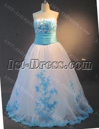 Ball Gown Princess Strapless Floor-Length Taffeta Organza Quinceanera Dress 2120