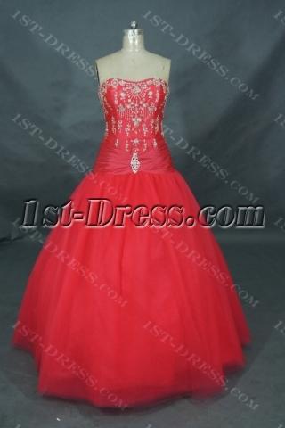 Ball Gown Princess Strapless Long / Floor-Length Taffeta Quinceanera Dress 01353