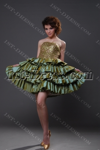 Ball Gown Princess Strapless Short / Mini Taffeta Quinceanera Dress 8808