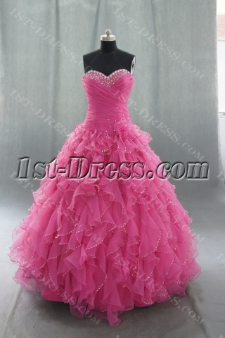 Ball Gown Princess Strapless Sweetheart Floor-Length Satin Organza Quinceanera Dress 05059