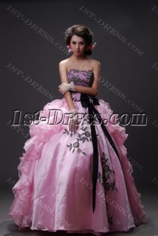 Ball Gown Princess Strapless Sweetheart Long / Floor-Length Satin Organza Quinceanera Dress 2219