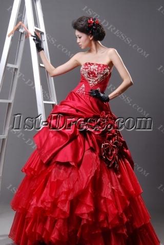 Ball Gown Princess Strapless Sweetheart Long / Floor-Length Satin Organza Quinceanera Dress H2221