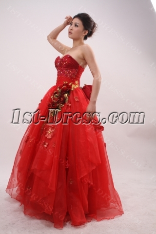 Ball Gown Princess Strapless Sweetheart Taffeta Organza Quinceanera Dress 3880